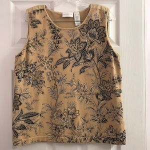 Liz Claiborne LizSport Floral Knit Tank Top XL